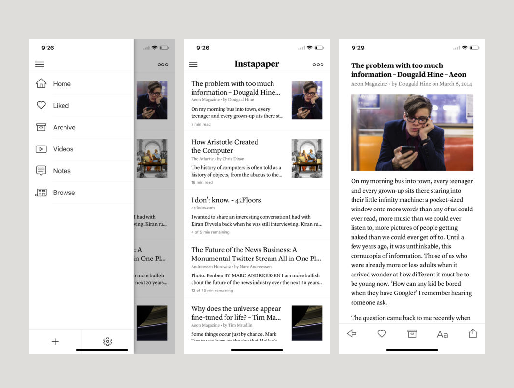 Instapaper on iOS (screenshots from App Store listing)