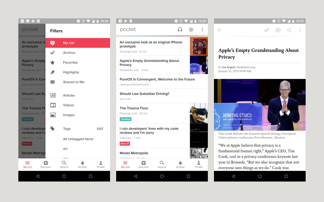 Pocket on Android - screenshots
